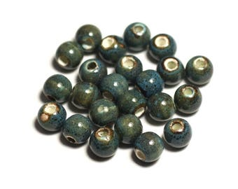 10pc - beads ceramic porcelain balls 6 mm Turquoise Blue spotted - 4558550005229