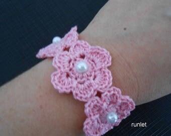 rose  flower crochet bracelet