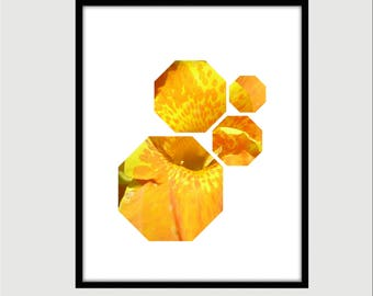 Orange/Yellow Lily Octagonal Print