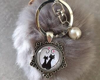 Cat - Bag charm with tassel fur cabochon glass 20mm