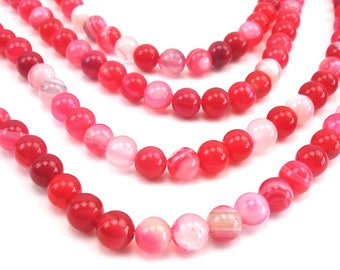 20 round natural 6 mm agate, pink beads