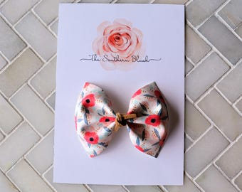 Pink Floral Faux Leather baby bow headband or baby clip with  suede tie