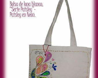 "Canvas Tote Bag White ""Paisley Serie"" -  Neon"