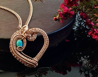 Turquoise Magnasite Heart Necklace, Just in Time for Valentines Day Gift for her