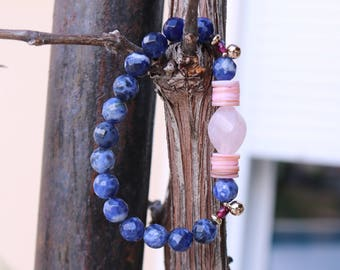 "Gemstone bracelet woman ""Rokia"" - sodalite, rose quartz, coral and gold - plated beads natural stone - Bohemian chic. -261."