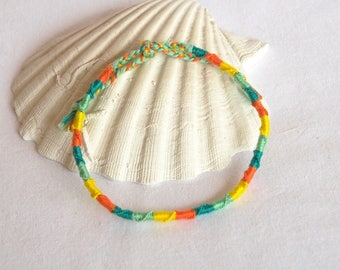 Orange green yellow spiral friendship bracelet anklet hippie boho Brasilda anklet
