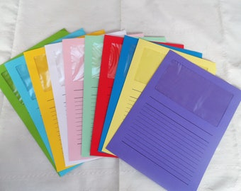set of 10 shirts folder assorted 31 x 22 cm with transparent window