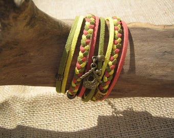Handmade bracelet cuff multi row and bronze charms
