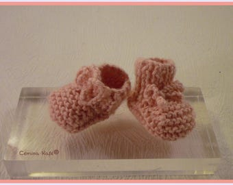 Baby booties hand knitted doll, pale pink