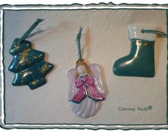 hanging porcelain Christmas ornaments
