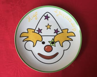 """Plate customizable child/baby """"The Clown"""", large format."""