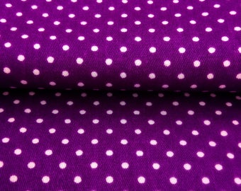 Purple cotton fabric with white dots for plum purple textile design