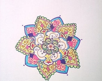 Mandala design in pink and blue
