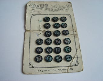 set of 5 mother of Pearl Sheen buttons violet green
