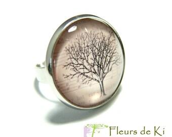 Designer pink tree 1 Platinum silver ring jewelry