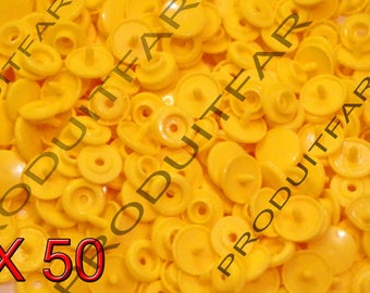 Set of 50 snap resin Kam T5 color yellow 12 mm