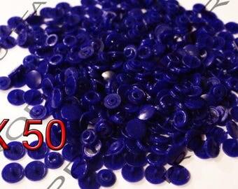Set of 50 snap resin Kam T5 color dark blue 12 mm