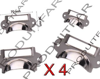 Lot 4 handle shell door tag iron Chrome for drawer furniture business locker 70 * 36 mm