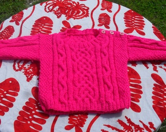 Irish pink knitted jumper for baby size 3 months