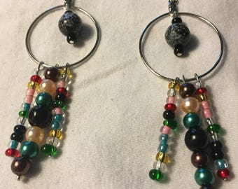 Boho hoop earrings multi color beads.