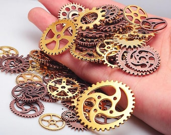 100pcs/lot  Vintage Metal Mixed Steampunk Gears Charms Pendant Charm For Jewelry Making