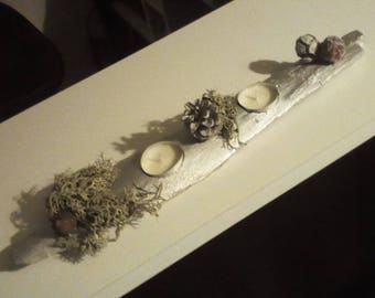 Wood centerpiece and silver foam (natural Composition)