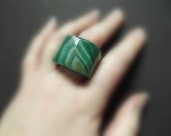 Carved natural green agate ring