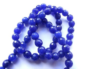 King 66 round blue faceted jade beads dyed 6 MOON-40 mm