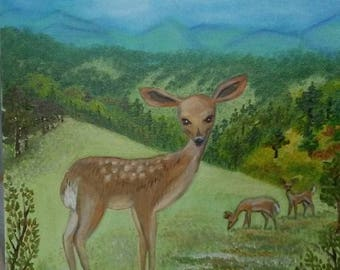 Young Deer (Fawn) In Vermont, oil on canvas painting