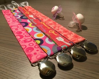 Pacifier Clips ~ Universal Fit ~ Everything Pink Collection (aka: Paci Clip, Binky Clip, Pacifier Keeper)
