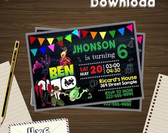 Ben 10 invitation, ben 10 party, ben 10 birthday, ben 10 PDF, ben 10 editable, ben 10 birthday party, ben 10 card,ben 10 party invite