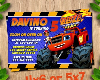 Birthday Party, Blaze and the Monster Machines Invitation, Personalized, Monster Truck Blaze and the Monster Machines Birthday