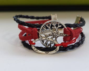 SUEDE BRACELET RED AND BLACK