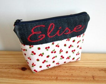 Cosmetic case personalized cotton red berries, cherries, raspberries and recycled jeans, make up, pinup, cherry, raspberry