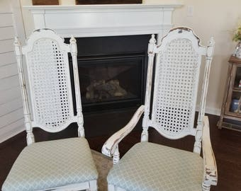 Vintage Re-furbished Set of Two Cane Back Dinning Chairs Distressed with Host Seat PENDING SALE