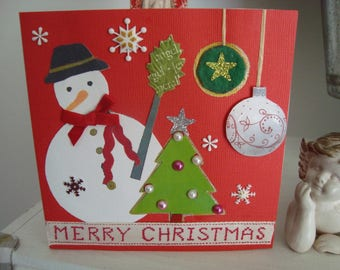 "Christmas card. ""The joys of winter: the snowman!"""