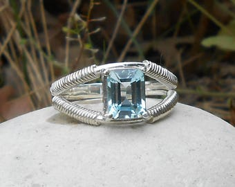 Hand made ring, 950 silver, Blue Topaz sky octagonal size (size on request)