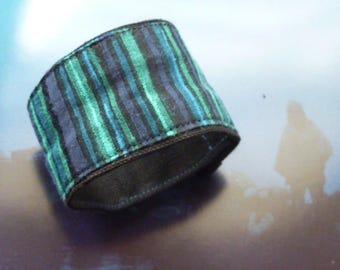 Blue and black striped fabric Cuff Bracelet