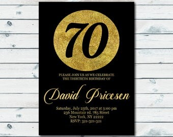 70th Birthday Invitation,70th Birthday Invitation,Black and Gold Glitter,40th 50th 60th 70th 80th Any Age 1012