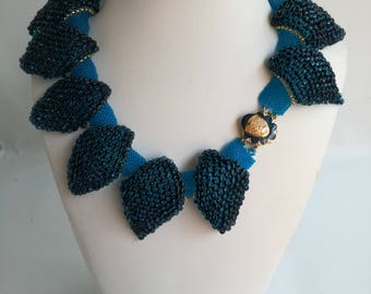 Blue leaves with beads