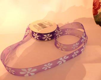 Ribbon Organza purple flowers white