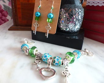 All Pandora style bracelet and earrings with dangle key