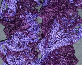 Purple ruffled scarf