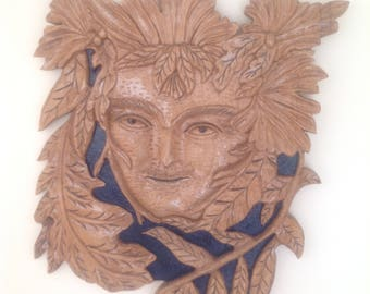 Green Man Carving,Wooden,Hand-carved,Handmade,Housewarming,Gifts for her,Gifts for him,Anniversary,Birthday,Spirit in the Trees,Cetic Design