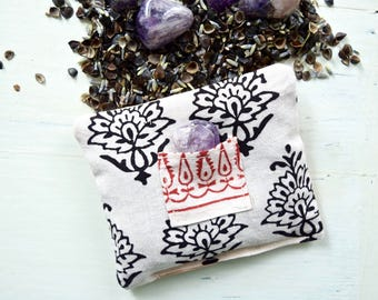 Amethyst Dream Pillow Indian Cotton Block Print Filled with Organic Dried Lavender Buckwheat Hulls Tumbled Maraba Amethyst Crystal Healing
