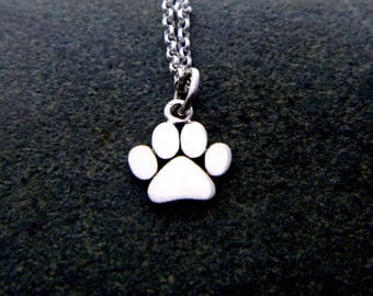 Paw Print Necklace - 925 Sterling Silver Paw Print Charm - Cat Dog Lovers Gift- Paw Print Pendant - Paw Print Jewelry - Pet Remembrance