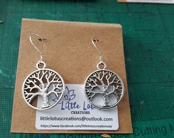 Tree of Life, Honeycomb Bee & DNA strand earrings. Sterling silver hooks, Tibetan Silver Charms.