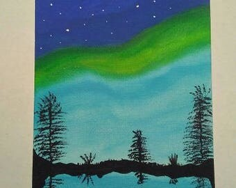 Borealis Painted on a 4 X 6 Canvas Panel