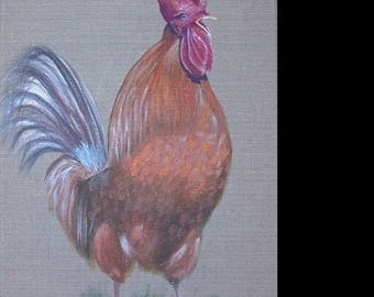 Painting on linen 'Song of the cock'