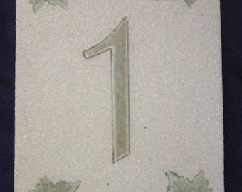 Green '1' door number, stoneware, ivy leaves decoration